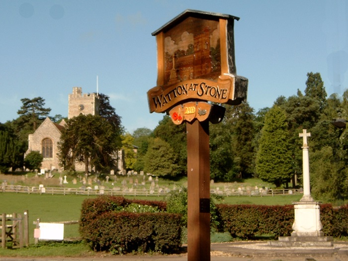 Watton-at-Stone:Village Sign